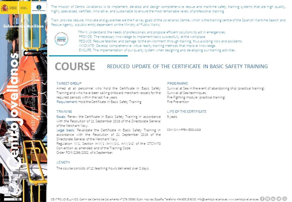 Image Reduced Update of The Certificate in Basic Safety Training